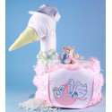 """Stork Delivers"" Baby Girl Diaper Cake"