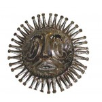 10 Haitian Metal Steel Drum Sun Face in Natural - Caribbean Craft