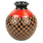 6 inch Tall Vase - Checkers Relief - Esperanza en Accion