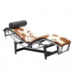 Fine Mod Imports Adjustable Chaise in Pony, Brown and White