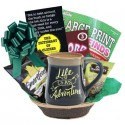 Life Is An Adventure Gift Basket with Paperback Book Choice for Men or Women