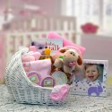 Welcome Baby Bassinet New Baby Basket - Pink