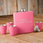 Matte Pink Flask & Shot Glass Gift Box Set - 2 Lines/15 Characters