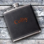 6oz Suede Flask with Orange Lettering