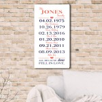 All Because Two Fell In Love Canvas Print - White/Coral/Navy