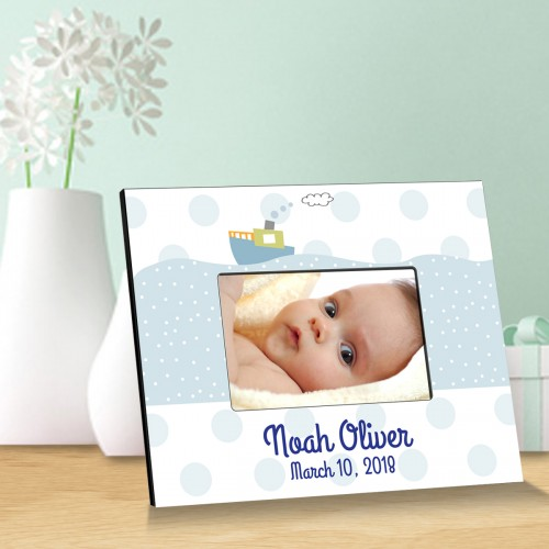 Personalized Baby Picture Frames - Baby Boy Tug Boat