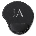 Black Faux Leather Personalized Mouse Pad - Modern