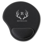 Black Faux Leather Personalized Mouse Pad - Antler