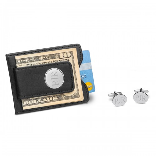 Black Leather Wallet and Modern Oval Cufflinks Set