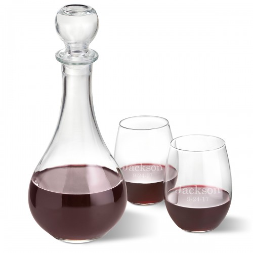 Bormioli Rocco Loto Wine Decanter with stopper and 2 Stemless Wine Glass Set - 2 Lines