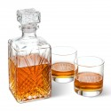 Bormioli Rocco Selecta Square Decanter with Stopper and 2 Low Ball Glass Set - 3initials