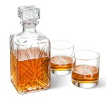Bormioli Rocco Selecta Square Decanter with Stopper and 2 Low Ball Glass Set - Modern