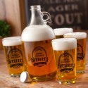 Personalized Glass Beer Growler and Pint Glass Set - Brewery