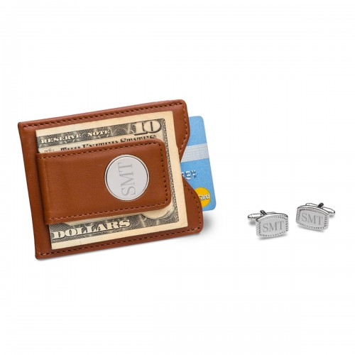 Brown Leather Wallet and Beaded Rectangular Cufflinks Set