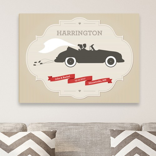 Personalized Couples Wedding Canvas - Car
