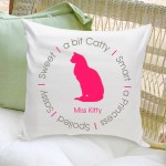 Circle of Love Cat Silhouette Throw Pillow - Pink