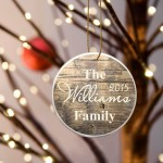 Family Name Ceramic Ornament - Rustic