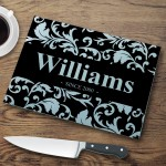 Personalized Glass Cutting Boards - Floral Cutting Board