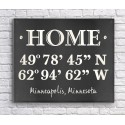 Home Coordinates Canvas Print - Black Chalkboard