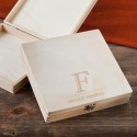 Monogrammed Wooden Keepsake or Cigar Box - Initial Design