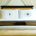 Initial Motif Couples' Pillowcases - Sage Green