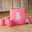 Matte Pink Flask & Shot Glass Gift Box Set - Kate Monogram
