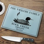 Personalized Cabin Series Glass Cutting Boards - Loon Cutting Board