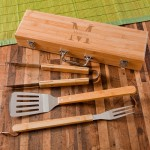 Monogrammed Grilling BBQ Set with Bamboo Case - Stamped