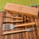 Monogrammed Grilling BBQ Set with Bamboo Case - Circle