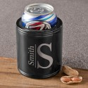 Monogrammed Black Metal Can Cooler - Modern
