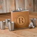 Monogrammed Tan Hide Flask Gift Set - Circle