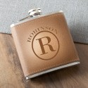 Monogrammed Tan Hide Stitched Flask - Circle