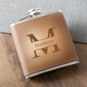 Monogrammed Tan Hide Stitched Flask - Stamped