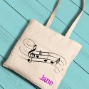 Music Notes Girl Canvas Tote
