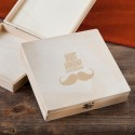 Monogrammed Wooden Keepsake or Cigar Box - Mustache Groomsman Design