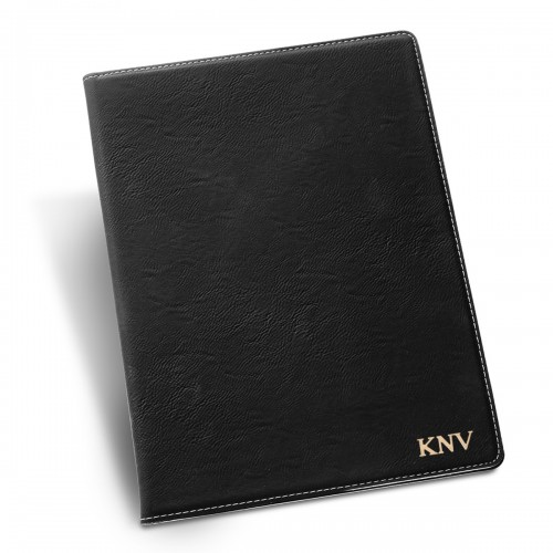 Personalize Black Portfolio with Notepad - Gold