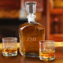 Personalized Decanter Set with 2 Low ball Glasses for Groomsmen - 3 initials