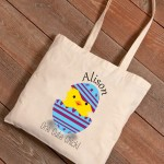 Personalized Easter Canvas Bags - Cute Chick