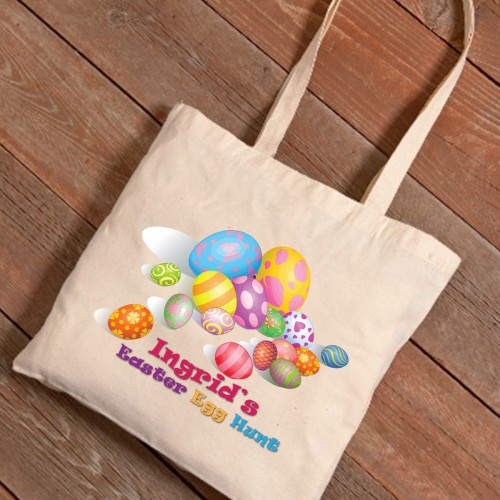 Personalized Easter Canvas Bags - Easter Eggs