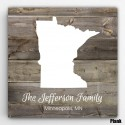 Personalized Family State Canvas - Wood