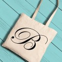 Personalized Initial Tote Black