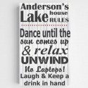 Personalized Lake House Canvas Sign-Black and White