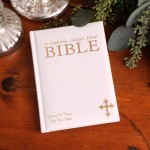 Personalized Laser Engraved Catholic Child's First Bible - White