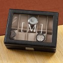 Personalized Men's Leather Watch Case - Single Initial