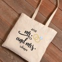 Personalized Mr. & Mrs. Rings Canvas Tote