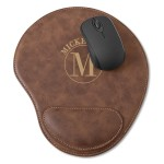 Personalized Rustic Faux Leather Mouse Pad - Circle