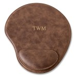 Personalized Rustic Faux Leather Mouse Pad - 3 initials