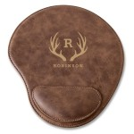 Personalized Rustic Faux Leather Mouse Pad - Antler
