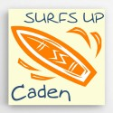 Personalized Surf Board Kids Canvas Sign