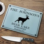 Personalized Cabin Series Glass Cutting Boards - Stag Cutting Board